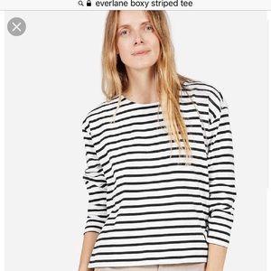 Everlane boxy striped white long sleeve cotton tee